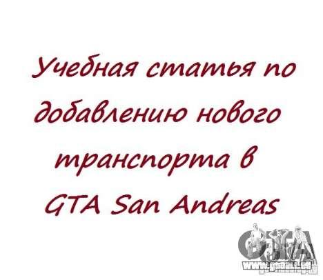 Neue Autos hinzufügen in GTA San Andreas