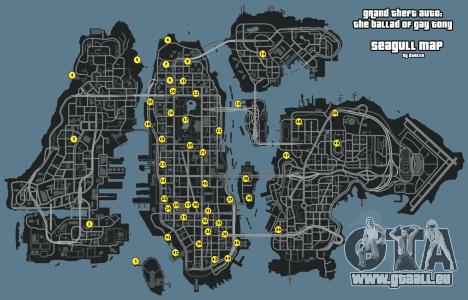 Karte von Möwen GTA 4: The Ballad Of Gay Tony