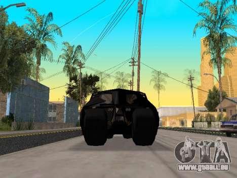 Tumbler Batmobile 2.0 pour GTA San Andreas vue intérieure