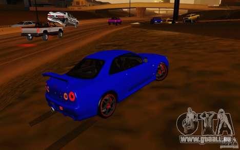Nissan Skyline R34 GT-R V2 pour GTA San Andreas vue de côté