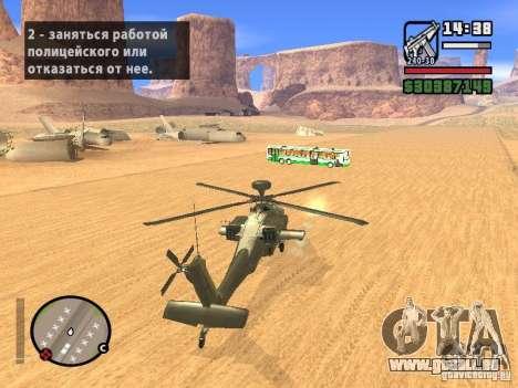 AH-64D Longbow Apache pour GTA San Andreas vue de côté