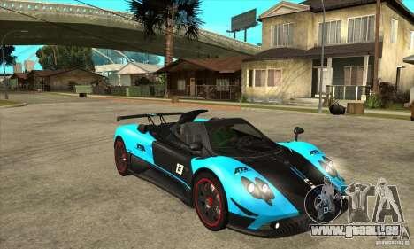 Pagani Zonda Cinque für GTA San Andreas Rückansicht