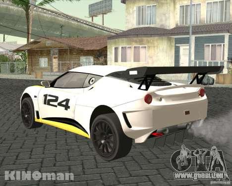 Lotus Evora Type 124 pour GTA San Andreas laissé vue