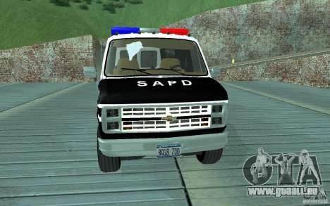 Chevrolet G20 Enforcer pour GTA San Andreas laissé vue