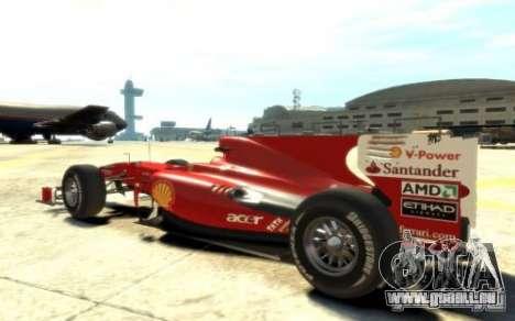 2010 Scuderia Ferrari F10 pour GTA 4 est une gauche