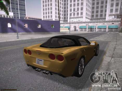 Chevrolet Corvette ZR1 pour GTA San Andreas laissé vue