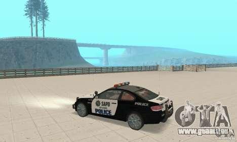 BMW M3 E92 Police pour GTA San Andreas vue arrière