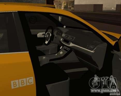 Lexus CT 200h 2011 Taxi pour GTA San Andreas vue intérieure
