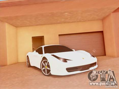 Ferrari 458 2010 für GTA San Andreas zurück linke Ansicht
