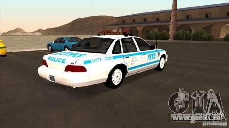 Ford Crown Victoria 1992 NYPD für GTA San Andreas zurück linke Ansicht