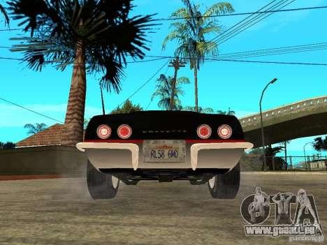 Chevrolet Corvette 1968 Stingray pour GTA San Andreas sur la vue arrière gauche