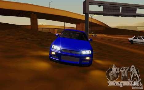 Nissan Skyline R34 GT-R V2 pour GTA San Andreas laissé vue