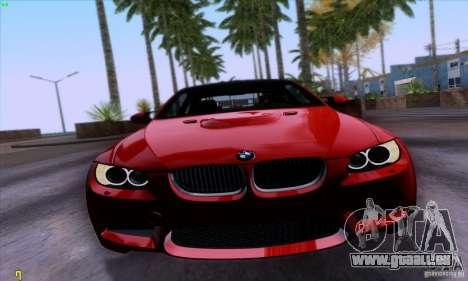 BMW M3 E92 v1.0 pour GTA San Andreas sur la vue arrière gauche