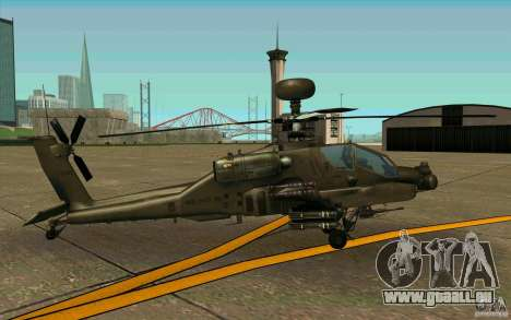 Apache AH64D Longbow pour GTA San Andreas sur la vue arrière gauche