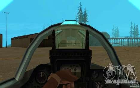 MIG-23 vers le bas le Flogger pour GTA San Andreas vue intérieure