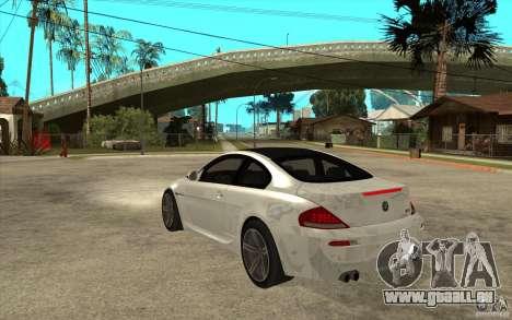 BMW M6 Coupe V 2010 pour GTA San Andreas sur la vue arrière gauche