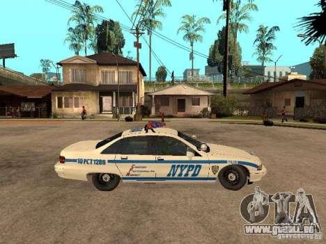 NYPD Chevrolet Caprice Marked Cruiser pour GTA San Andreas sur la vue arrière gauche