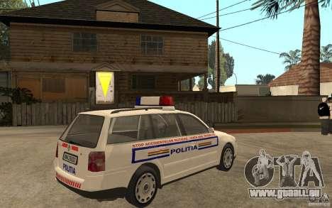 VW Passat B5+ Variant Politia Romana pour GTA San Andreas vue de droite