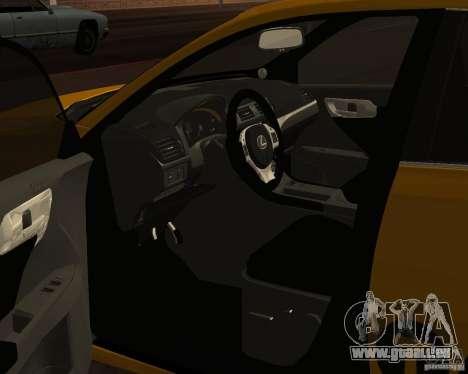 Lexus CT 200h 2011 Taxi pour GTA San Andreas vue arrière