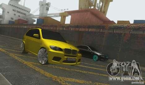 BMW X5M Gold Smotra v2.0 für GTA San Andreas zurück linke Ansicht