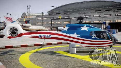Eurocopter EC 130 B4 USA Theme pour GTA 4 est une vue de l'intérieur