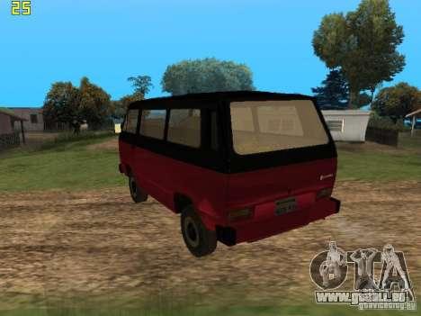 Volkswagen Transporter T3 pour GTA San Andreas laissé vue