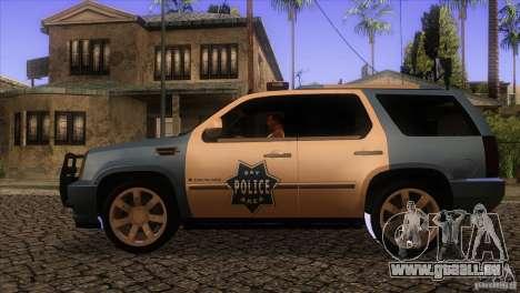 Cadillac Escalade 2007 Cop Car pour GTA San Andreas laissé vue
