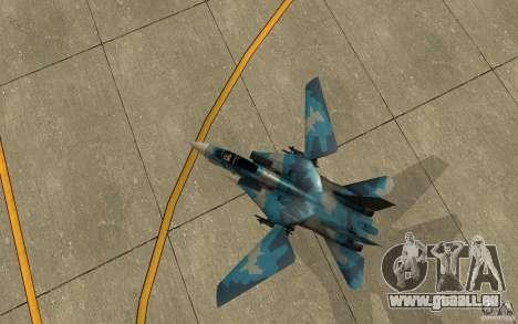 F-14 Tomcat Blue Camo Skin pour GTA San Andreas vue arrière
