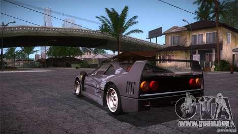 Ferrari F40 pour GTA San Andreas sur la vue arrière gauche