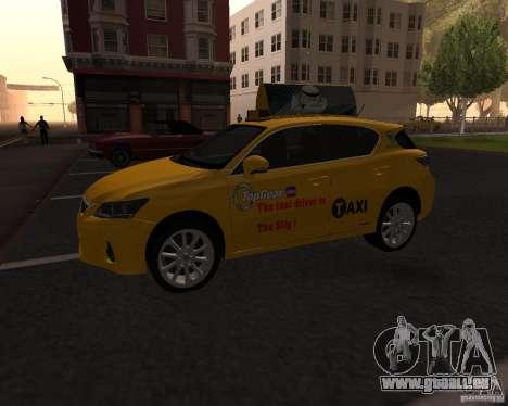 Lexus CT 200h 2011 Taxi pour GTA San Andreas laissé vue