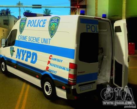 Mercedes Benz Sprinter NYPD police pour GTA San Andreas vue arrière