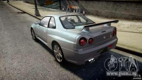 Nissan Skyline GT-R R34 2002 v1 pour GTA 4 Vue arrière de la gauche