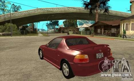 Honda CRX - DelSol pour GTA San Andreas sur la vue arrière gauche