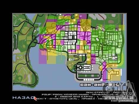San Fierro and Los Santos Gang Zone pour GTA San Andreas troisième écran