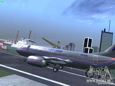 Boeing 737-500 pour GTA San Andreas sur la vue arrière gauche