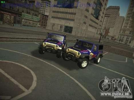 Jeep Wrangler Red Bull 2012 pour GTA San Andreas sur la vue arrière gauche