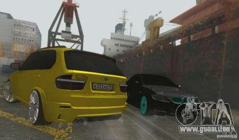 BMW X5M Gold Smotra v2.0 pour GTA San Andreas vue arrière