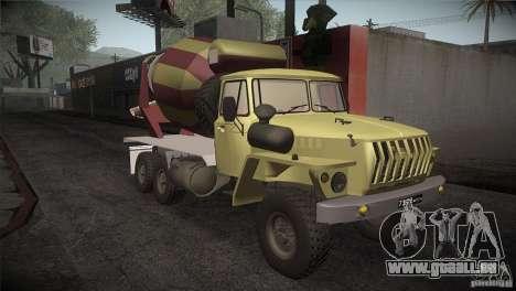 Ural 4320-Betonmischer für GTA San Andreas Rückansicht