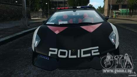 Lamborghini Sesto Elemento 2011 Police v1.0 ELS pour GTA 4 est une vue de dessous