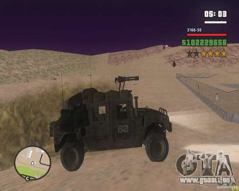 Hummer H1 de COD MW 2 pour GTA San Andreas sur la vue arrière gauche