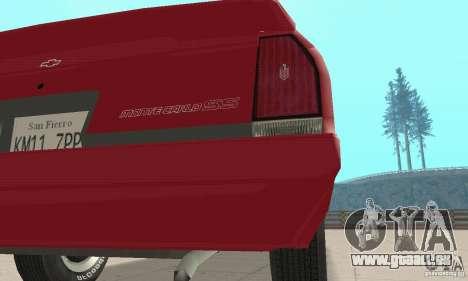 Chevrolet Monte Carlo SS 1986 pour GTA San Andreas vue intérieure