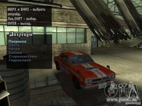 Nissan Skyline 2000 GT-R pour GTA San Andreas vue de dessus