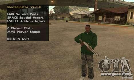 Skin Selector v2.1 pour GTA San Andreas deuxième écran