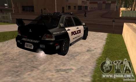 Mitsubishi Lancer Evo VIII MR Police für GTA San Andreas linke Ansicht