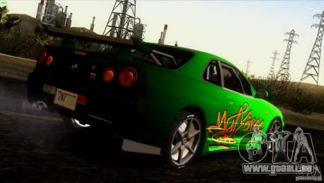 Nissan Skyline R34 Drift für GTA San Andreas Motor