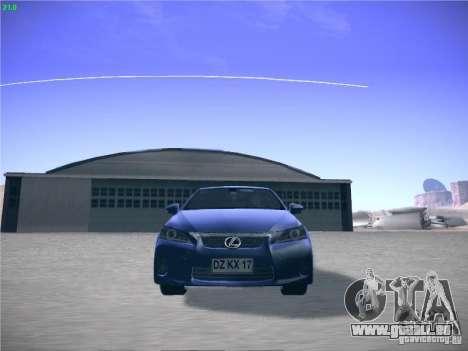 Lexus CT200H 2012 pour GTA San Andreas laissé vue
