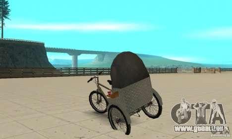 Manual Rickshaw v2 Skin1 pour GTA San Andreas sur la vue arrière gauche