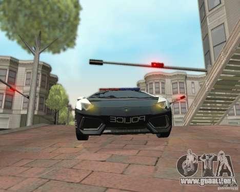 Lamborghini Aventador LP700-4 Police pour GTA San Andreas sur la vue arrière gauche