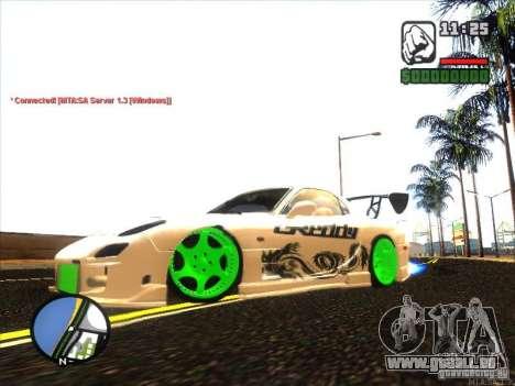 Mazda RX-7 Drift Version pour GTA San Andreas laissé vue