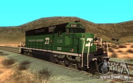 SD 40 Union Pacific Burlington Northern 3149 für GTA San Andreas